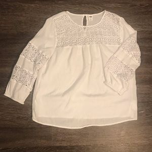 Old Navy White Flowly Tunic Top in Sz: L